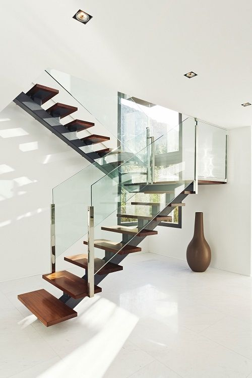 Wood, glass and steel staircase