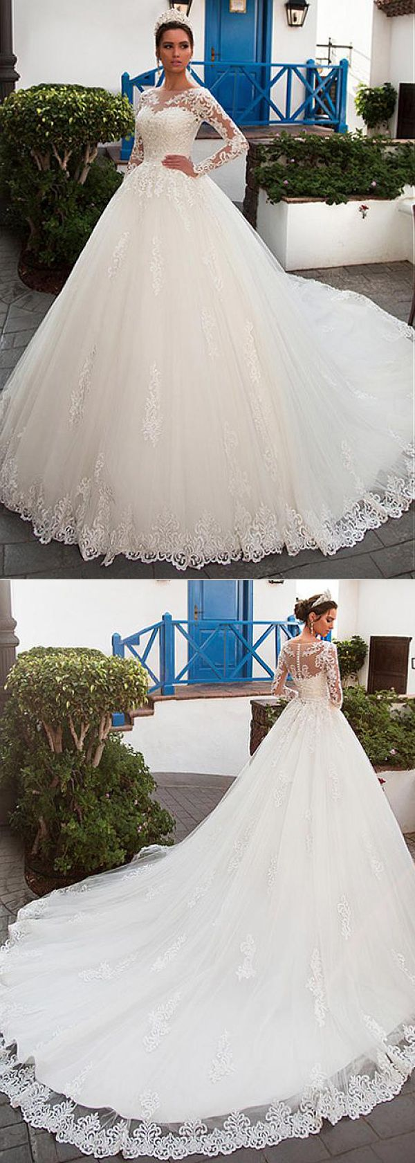 Gorgeous Tulle Bateau Neckline Ball Gown Wedding Dress With Lace Appliques & Bea…