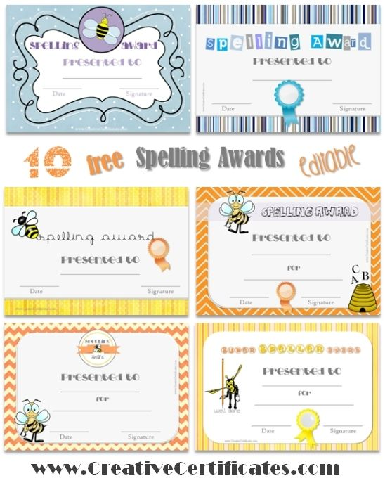 Spelling Certificates for Teachers - free and instant download