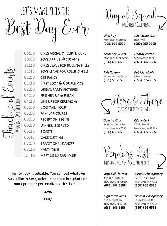 The day of the wedding can be hectic and the last person you want to bother is the bride. Download this template for a wedding timeline and phone list to give to your bridal party and key wedding day people (like vendors!)   This listing is special because it's EXTRA customizable from home! It comes with a second document of headers that you can swap out, two custom layouts (one with phone numbers on the right and one with a timeline... you could even use them front and back!)   While the...