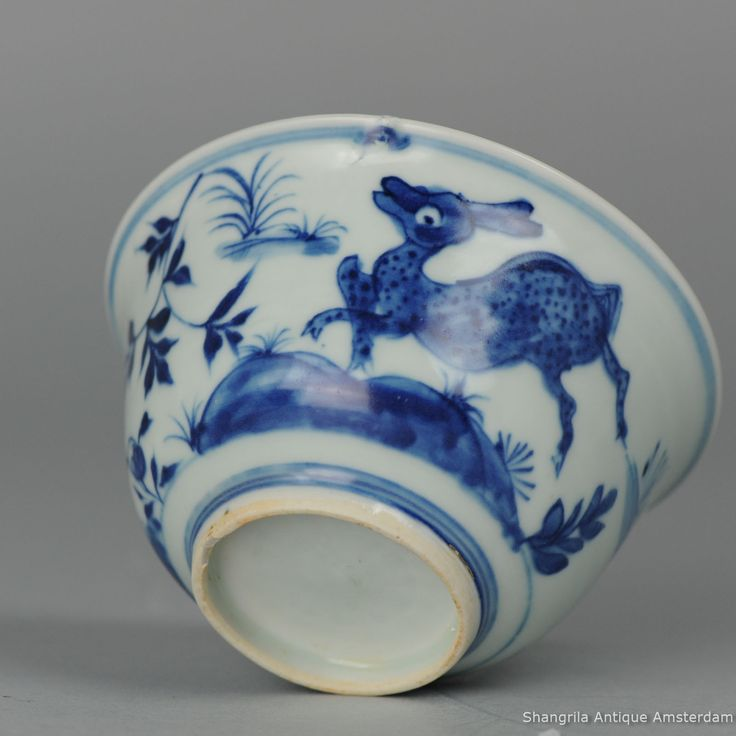 Ming Wanli or Transitional Chinese Antique Porcelain Bowl with deer blue & white  Lovely & rare Ming Wanli or Transitional Bowl with Deer