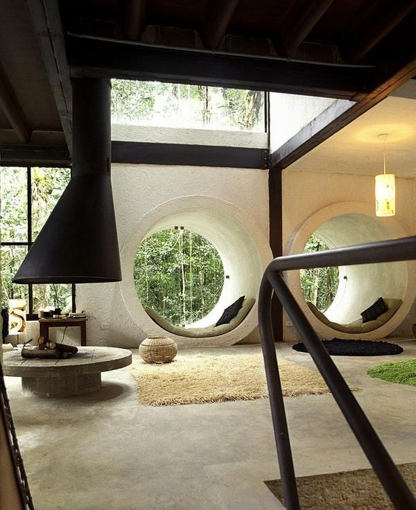 Modern round suspended fireplace