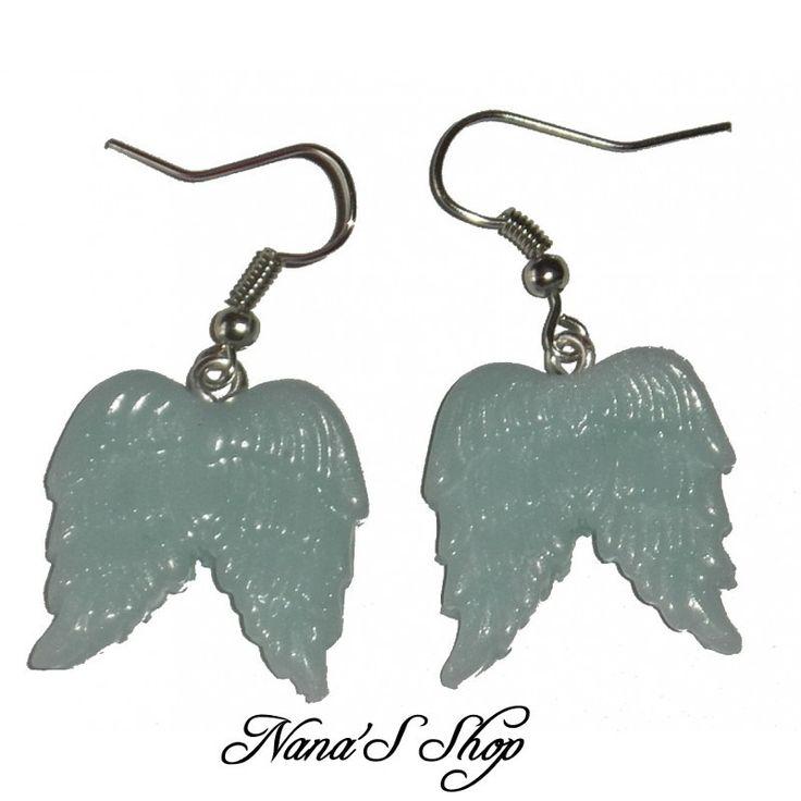 Boucles d'oreilles ailes d'ange, en fimo, Bleu quartz : Boucles d'oreille par nanas-shop