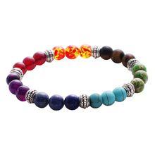 Mens womens 7 chakra mista stone cura chakra balanceamento de rezar mala pulseira lava rock contas diy jóias pulseiras alishoppbrasil