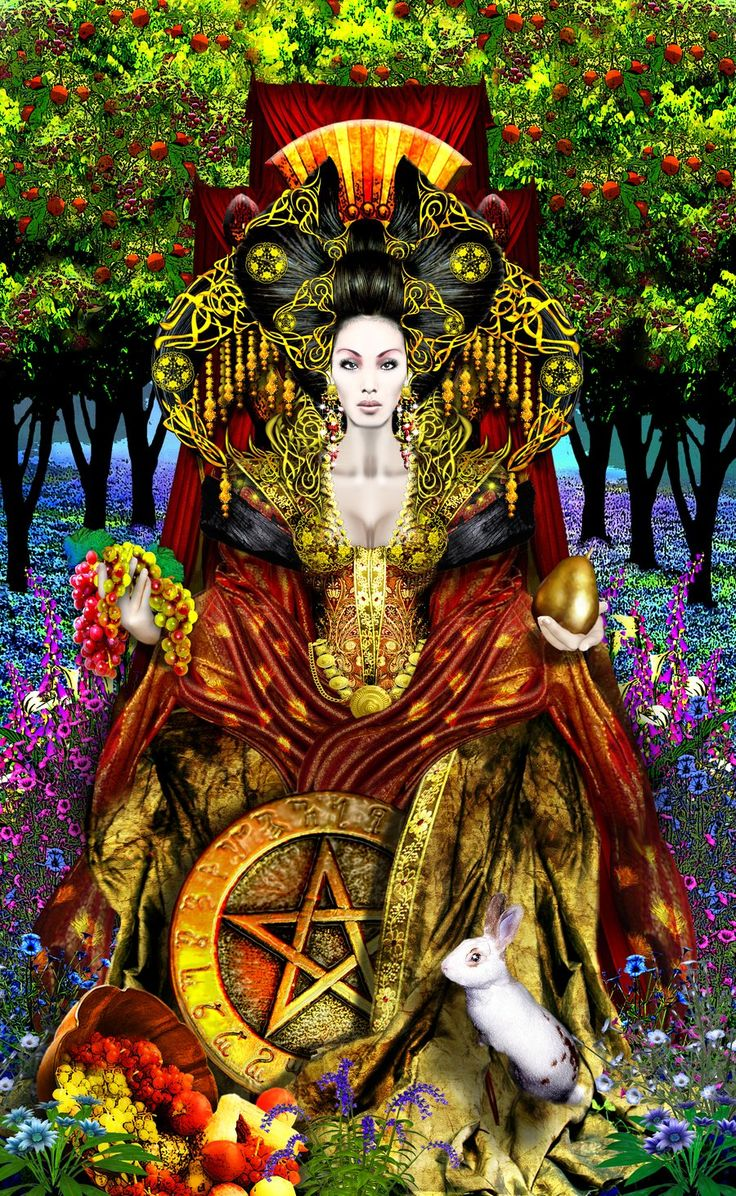 This Queen of Pentacles is inspiring. She's surrounded by her projects with confidence and not a hair out of place.: