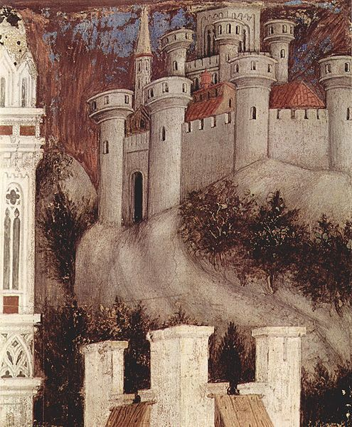 Trebizond idealized. Detail from Pisanello's St. George and the Princess of Trebizond (right side), c. 1436-38. Fresco. Pellegrini Chapel, Chiesa di Sant'Anastasia, Verona, Italy.