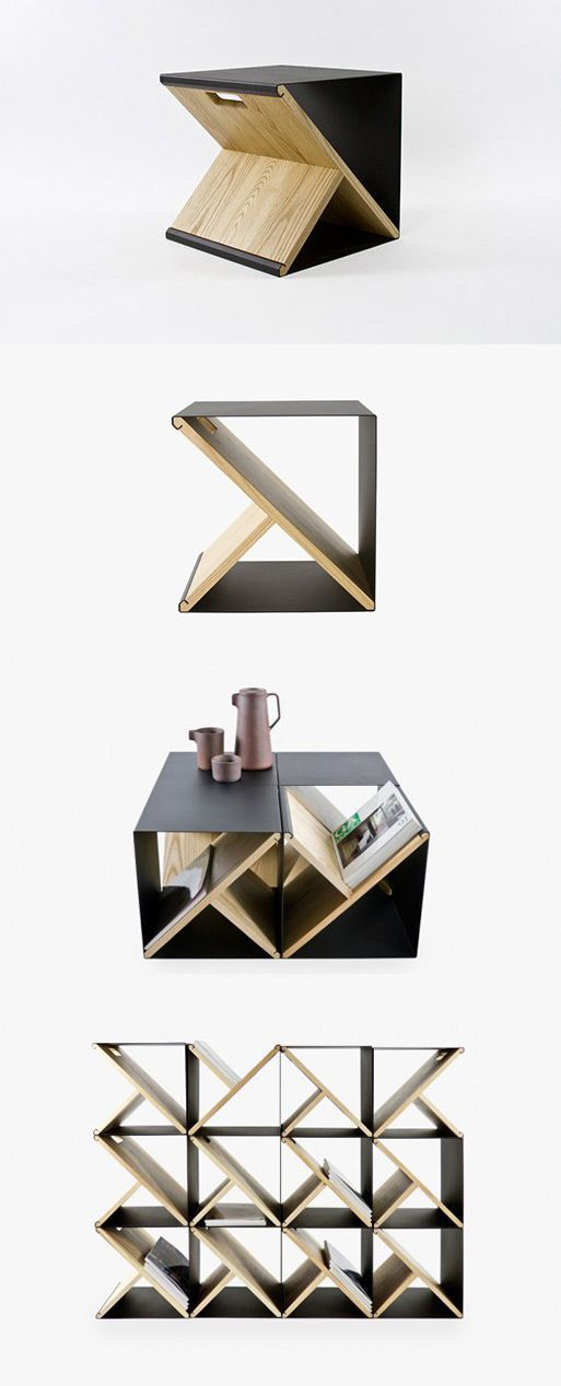 geometric side table storage cube with triangular compartments