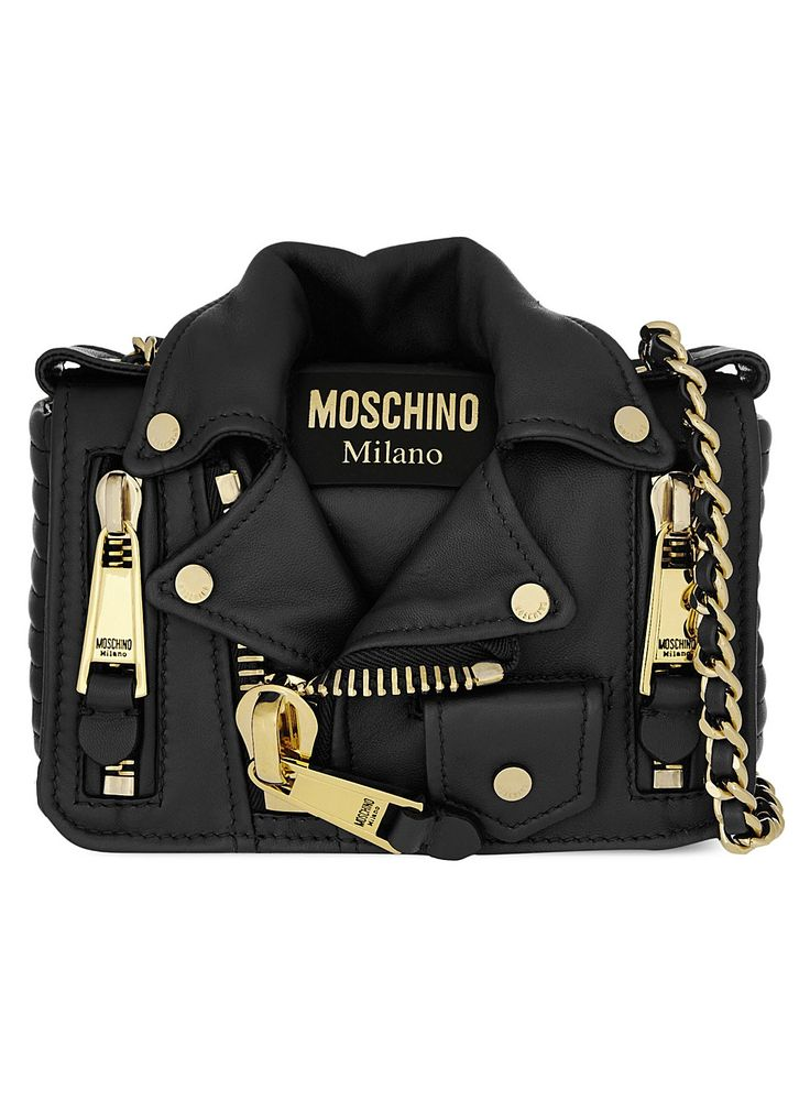 Moschino Black Leather Quilted Biker Jacket Shoulder Chain Bag