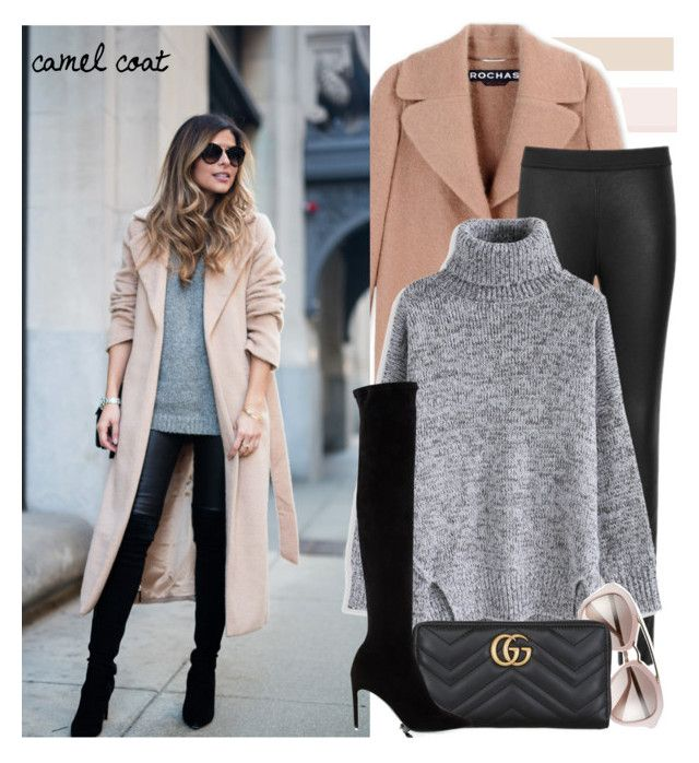 """""""camel coat!!"""" by sweet-fashionista ❤ liked on Polyvore featuring Rochas, Chicwish, Prada, Gucci, Delman, BloggerStyle, shein and december2016"""