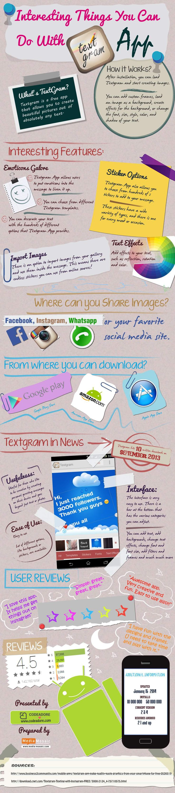 Interesting Things You Can do With Textgram App Infographic App Textgram