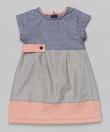 Blue & Gray Chambray Color Block A-Line Dress - Toddler & Girls by Anna Bouché #zulily #ad *love this asymmetrical style