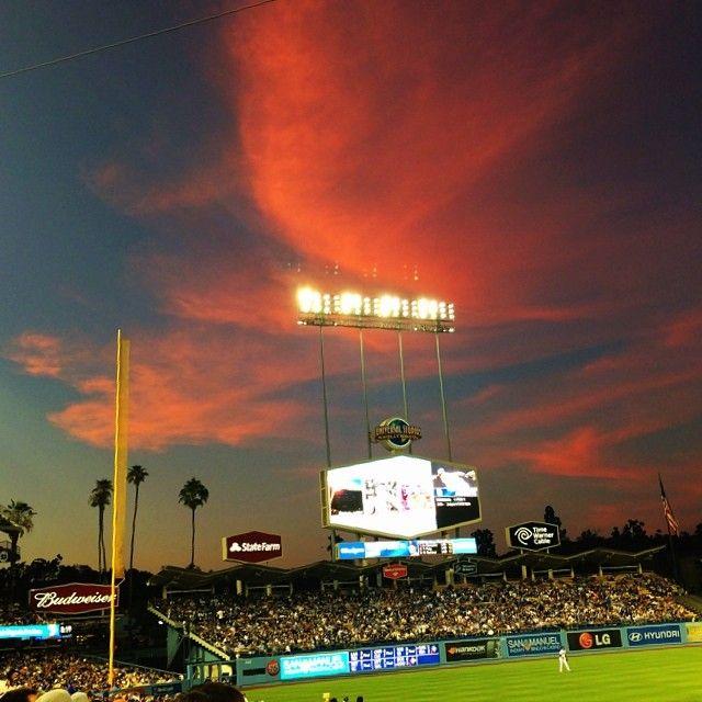 Sunset at the #Dodgers Stadium