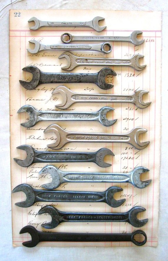 A collection of vintage wrenches.