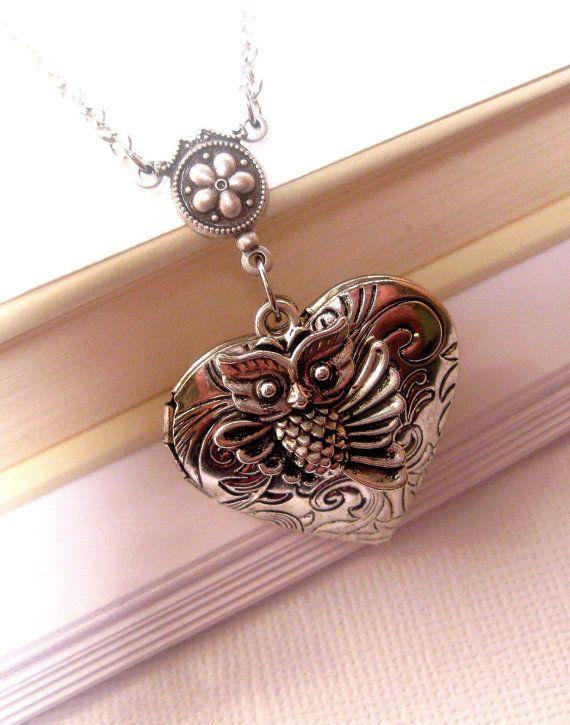 Heart Locket  Locket Necklace  Owl Necklace by FashionCrashJewelry