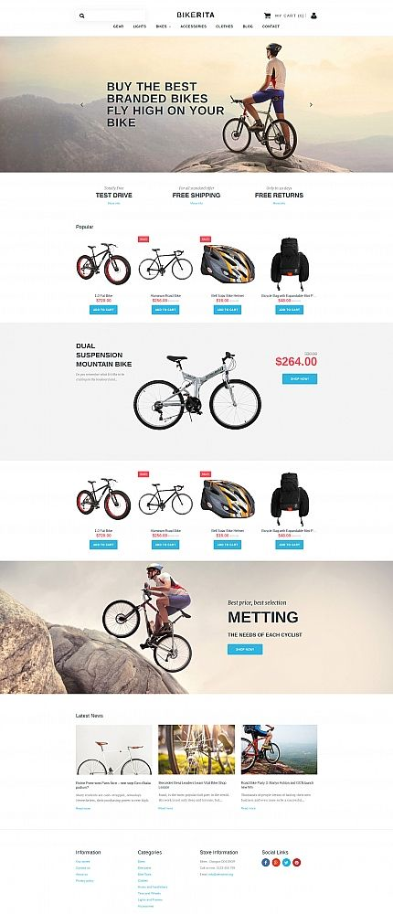 BIKERITA - #cycling  #responsive  MotoCMS #ecommerce  #template