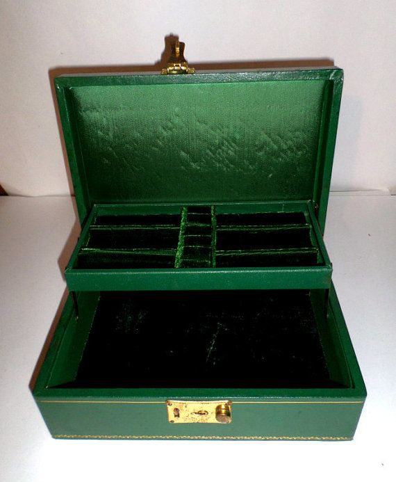 green vintage jewelry box green velvet jewelry box