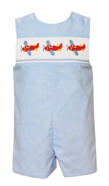 7ff40fae9c Anavini Baby / Toddler Boys Blue Check Smocked Airplanes Jon Jon ...