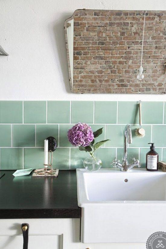 groene tegels in de keuken wooninspiratie - Tijdelijke Backsplash