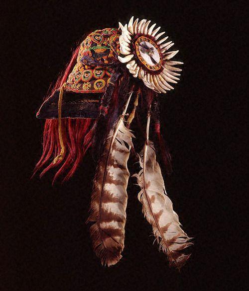 Headdress Paiwan peoples, Taiwan Early 20th century Cotton, glass beads, teeth, claws, hair, feathers, shell, fiber, yarn, bamboo, metal, brass