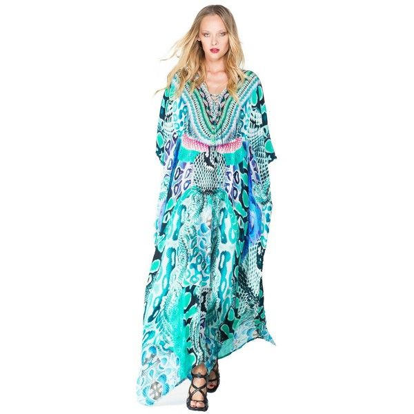 Shahida Parides Lace Up Long Kaftan Dress in 3 Ways to Wear ❤ liked on Polyvore featuring dresses, off the shoulder long dress, long halter dress, kaftan dress, v neck dress and long v neck dress