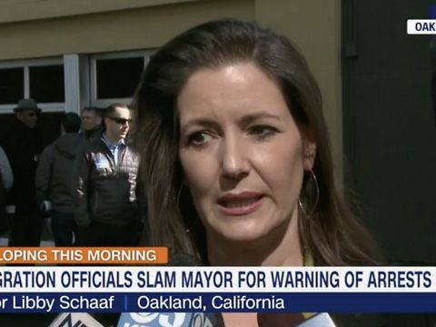 Oakland Mayor Libby Schaaf said she has no regrets for warning the public of impending immigration operations and that she would do it again.<br><br>Schaaf has come under heavy criticism from the US Immigration and Customs Enforcement for announcing that immigration operations were going to happen the day before they started.<br><br>More than 150 people alleged to have violated immigration laws were arrested in Northern California as part of ICE operations that began Sunday, the agency…
