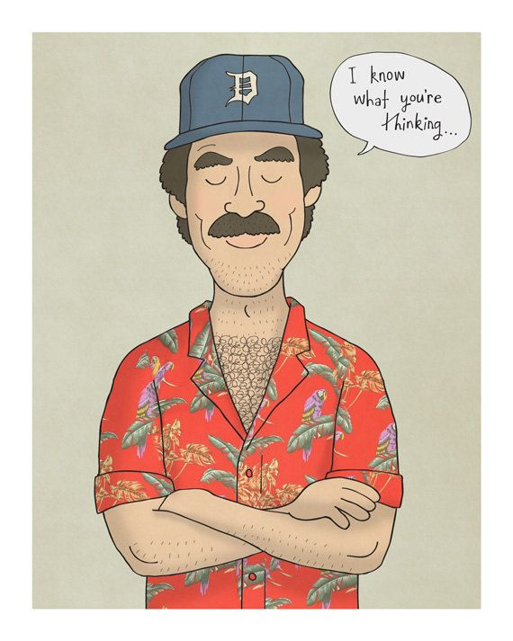 Hey, I found this really awesome Etsy listing at https://www.etsy.com/listing/249099237/magnum-pi-illustration-art-print