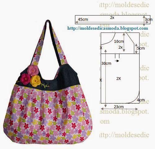PASSO A PASSO MOLDE DE BOLSA Corte dois retângulos de tecido com a altura e largura que pretende para a bolsa. Desenhe as laterais do saco. Desenhe o fundo