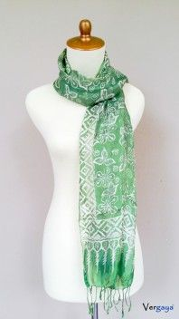 Green Tea. Batik silk scarf made in Indonesia for women fashion. We hand-pick the design based on the color, pattern, size and layout thus there will be only one of its kind. Learn more of our products at www.vergaya.com