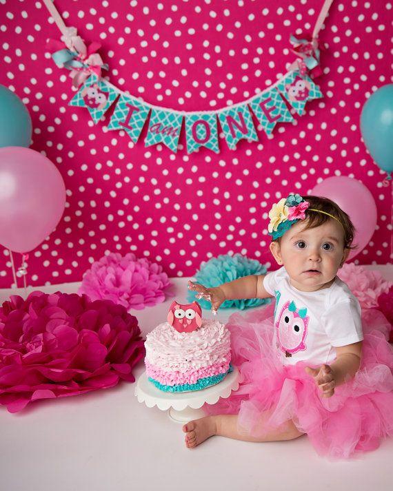 OWL BIRTHDAY BANNER / 1st birthday girl / by SweetGeorgiaSweet
