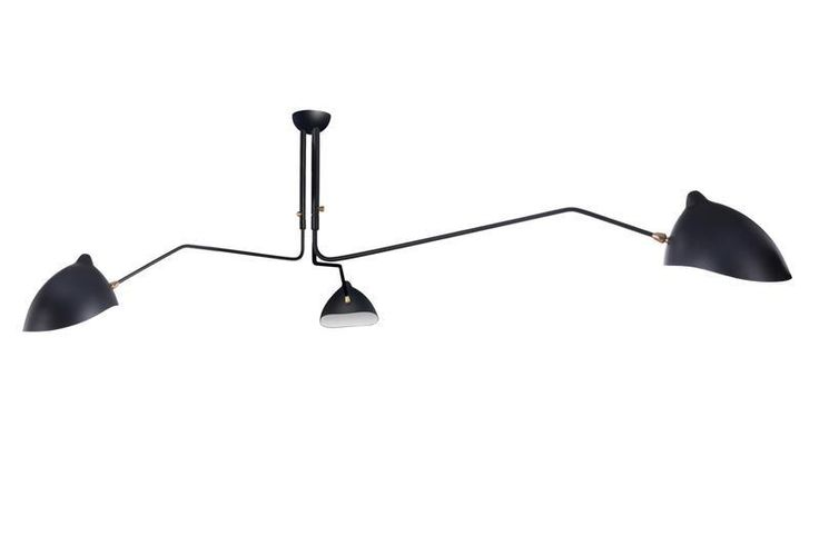 Mantis Three-Arm Ceiling Lamp Serge Mouille Style Black or White – MCM Classics