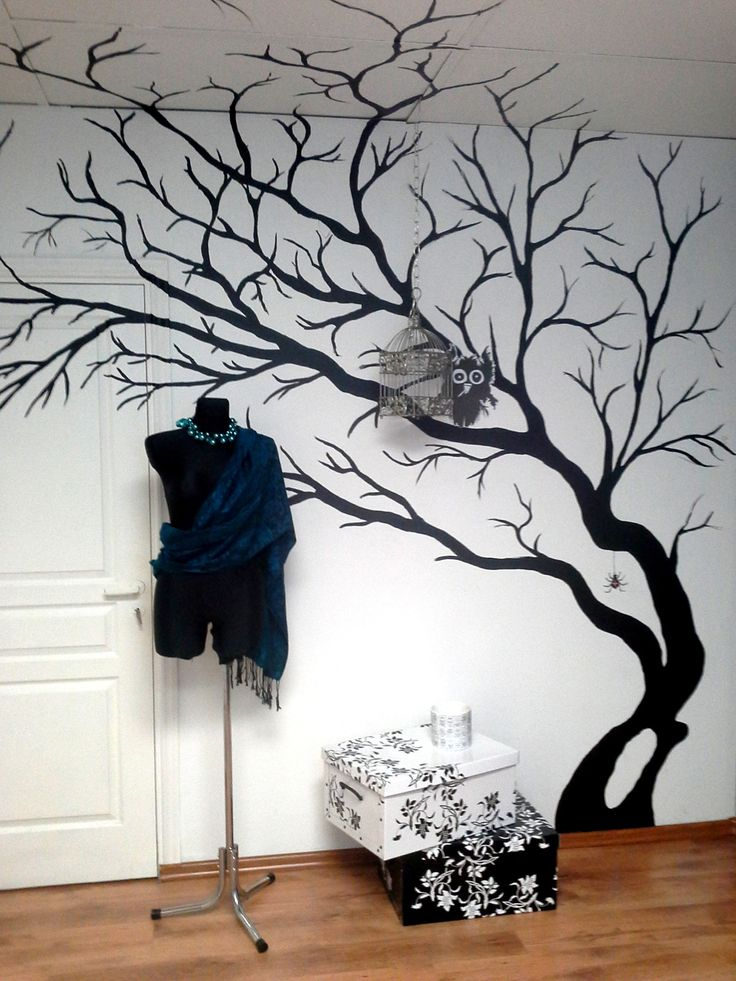 painted tree wall murals images. Black Bedroom Furniture Sets. Home Design Ideas