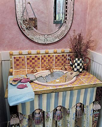 A WHIMSICAL POWDER ROOM: A MacKenzie Childs Vanity, Sink And Tiles Create A