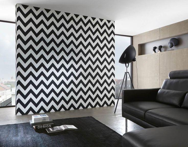 Cik-cak tapeta v čierno bielom prevedení z katalógu High Rise od nemeckého dizajnéra Michalsky | DIMEX