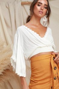 80a771e109d02 Jess White Knotted Bell Sleeve Crop Top