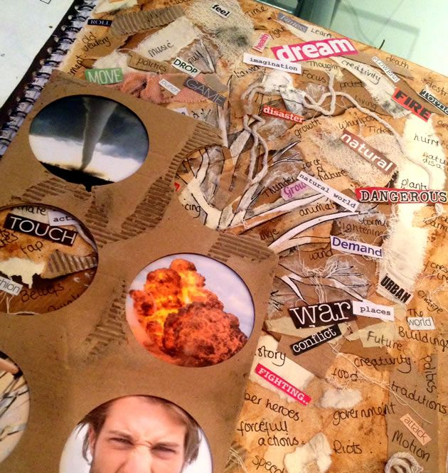 Exploring the topic 'Force', this mixed media mind map contains a wealth of details, texture and depth. GCSE Art