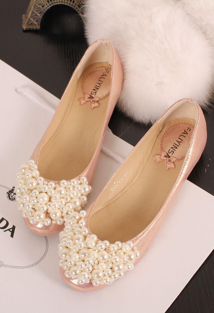 Round head flat wedding shoes