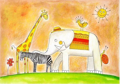 Take a walk in the sunshine with this happy 'Animal Friends' print #WallArtPrints #Kids #Art #Animals