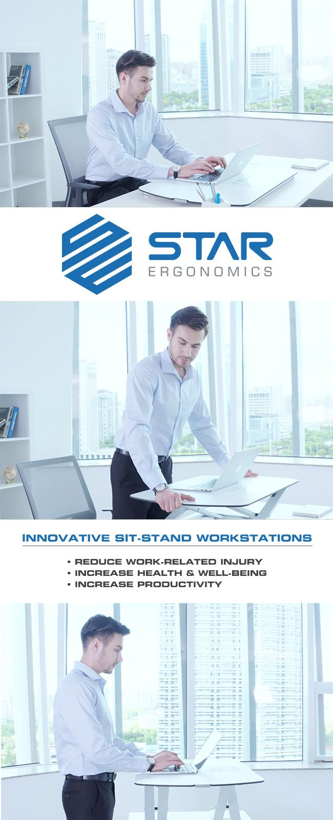 Star Ergonomics - Innovative Ergonomic Workstations - Improve Health & Productivity - Introductory Offer: Pre-Order and Save 25% on All Star Ergonomics Products Use Coupon Code: SEPIN25 Estimated Delivery is 8 Weeks