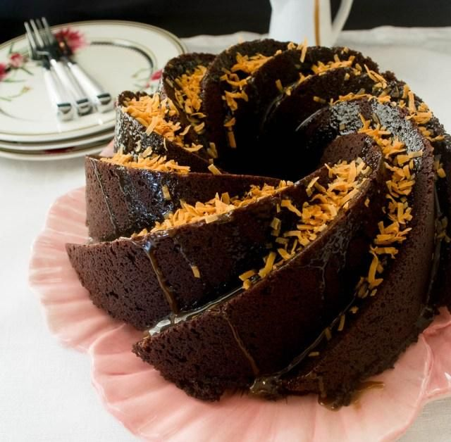 German Chocolate Cake With Caramel Glaze