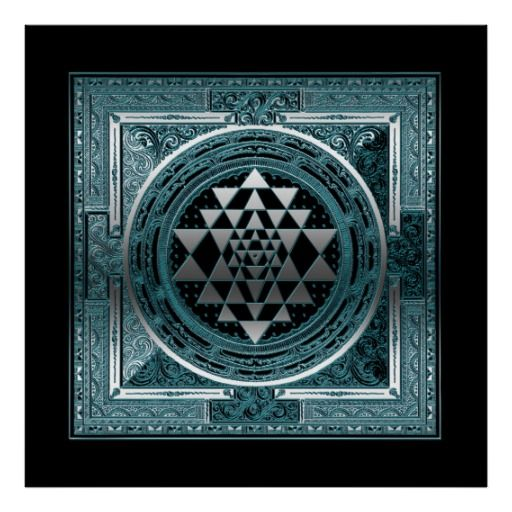 Poster Canvas blue grey geometry symbol india yoga