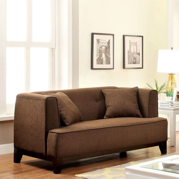 Furniture of America Esmone Modern Tuxedo Linen Loveseat