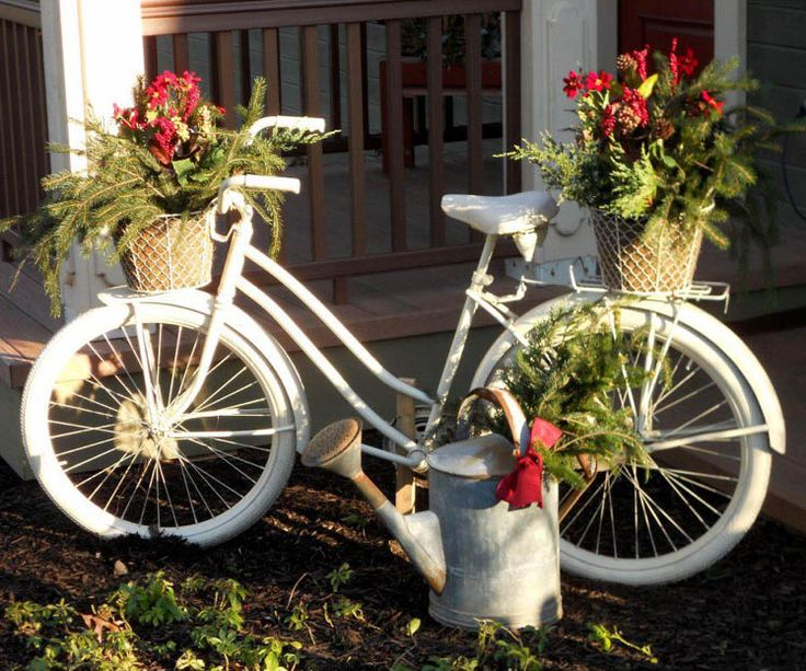Bike with flower baskets