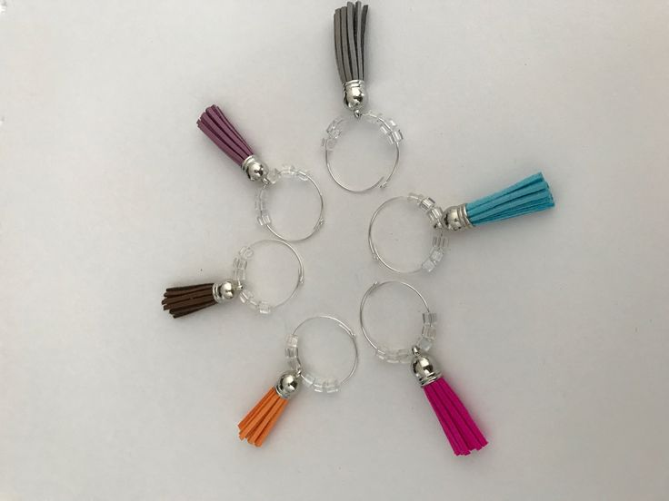 Tassel Wine Glass Charms -Drink Tags - Wine Glass markers - Wine Hostess Gift - Wine Charm Party Favor - Wine Charm Favors by DesignsbyDDJIT on Etsy