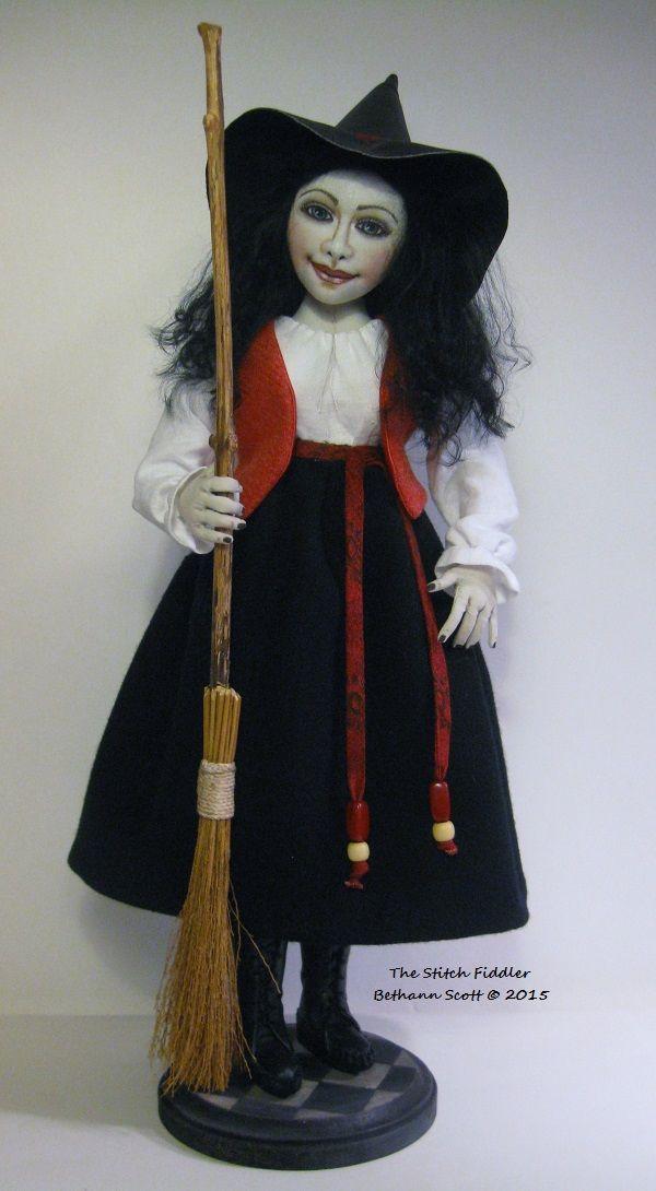 ~Witch Art Doll~ Textile Art Doll by Bethann Scott © 2015