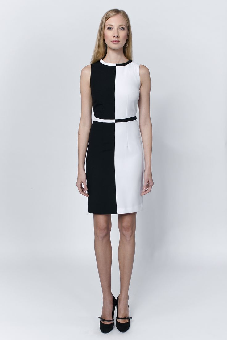 Black & white dress with stand up cowl collar that provokes the glazes of apprecitiation in every milieu... http://laccafashion.com/collections/dresses/products/black-white-dress