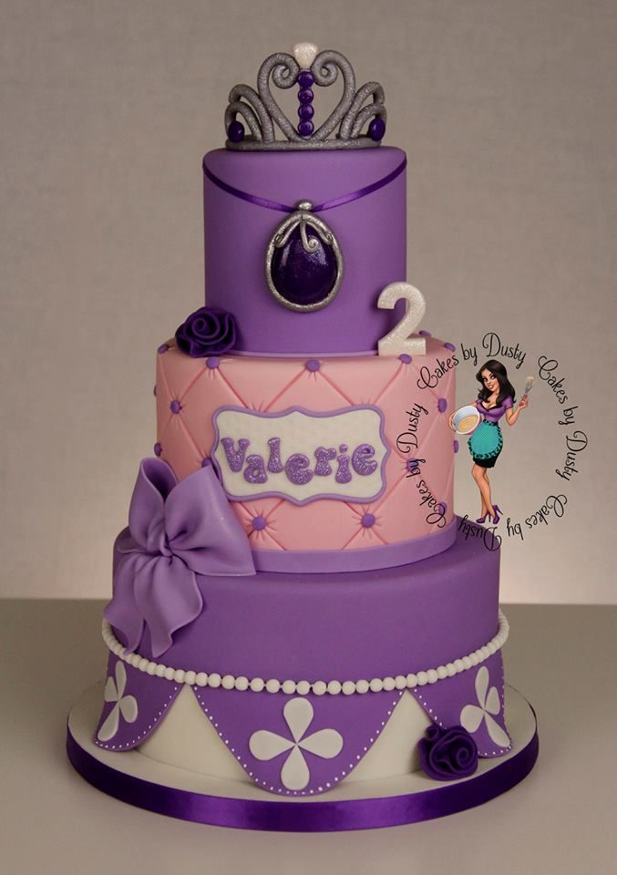 """Sofia the 1st cake by Cakes By Dusty - cake sizes are 8"""", 6"""" & 4"""""""