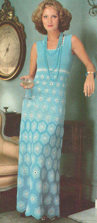 Vintage 1970's Crochet Shaded Motif Maxi Dress