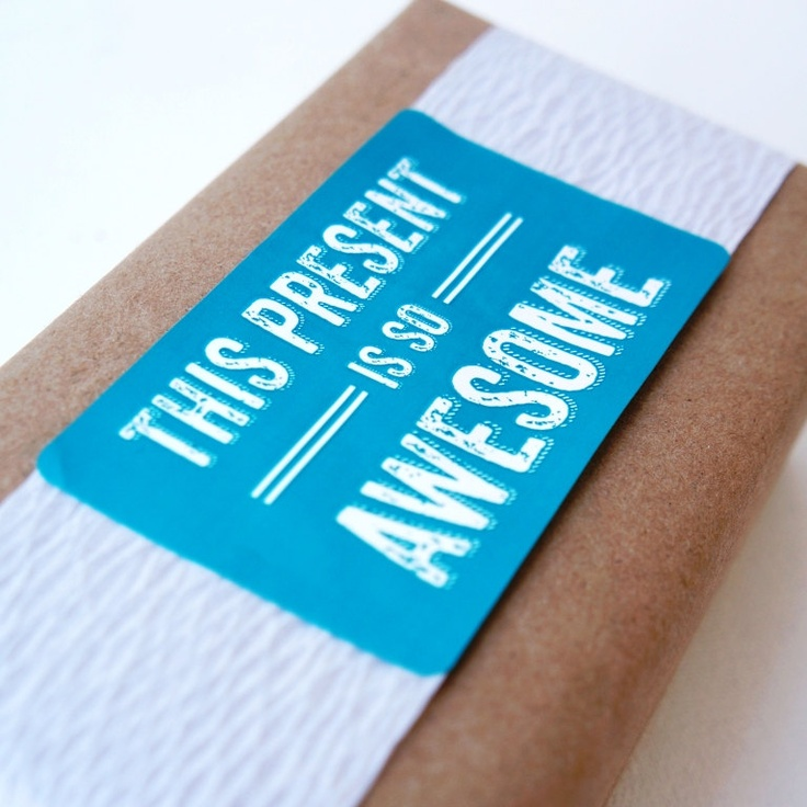 Awesome Present Sticker, Gift Wrap.