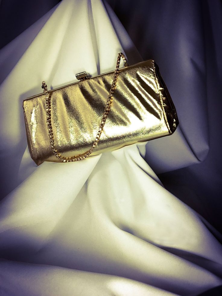 1960s Gold Vinyl Evening Clutch Purse With Hideaway Chain Canadian Made By Denis Leonard Montreal by Matchyvintage on Etsy