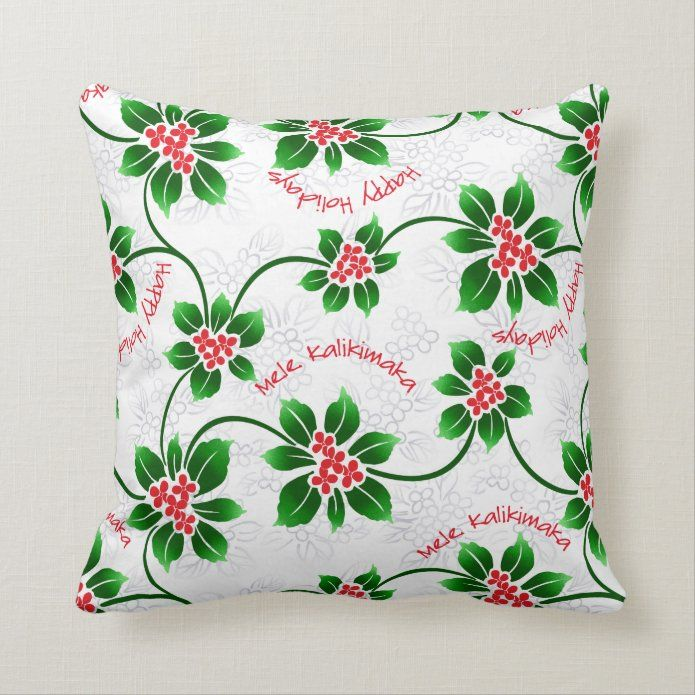 Hawaiian Holly Mele Kalikimaka Christmas Red Throw Pillow Zazzle Com In 2020 Red Throw Pillows Throw Pillows Red Throw